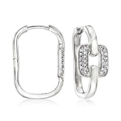 .25 ct. t.w. Diamond Interlocking Hoop Earrings in Sterling Silver