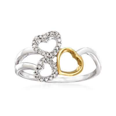 .10 ct. t.w. Diamond Open-Space Heart Ring in Sterling Silver and 14kt Yellow Gold