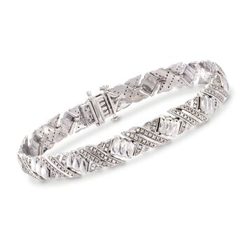 1.00 ct. t.w. Pave Diamond X-Link Bracelet in Sterling Silver, , default