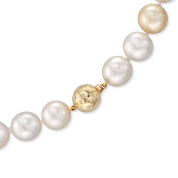 """13-15.5mm Multicolored Cultured South Sea Pearl Necklace With Diamond and 14kt Yellow Gold. 18"""", , default"""