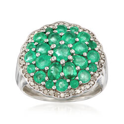 2.10 ct. t.w. Emerald and .24 ct. Diamond Cluster Ring in Sterling Silver, , default