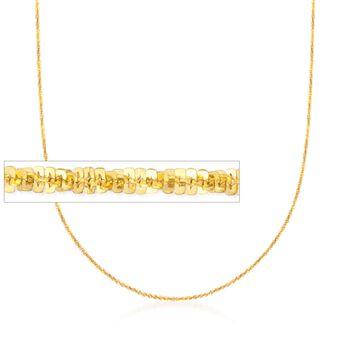 Italian 1.5mm 18kt Gold Over Sterling Adjustable Crisscross Chain Necklace, , default