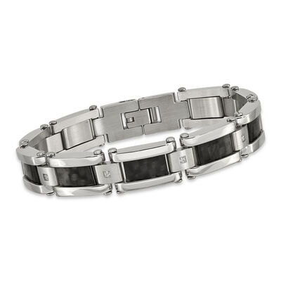 Men's Stainless Steel and Black Carbon Fiber Inlay Bracelet with .12 ct. t.w. CZs 8.5""
