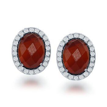 Carnelian and .44 ct. t.w. CZ Earrings in Sterling Silver, , default