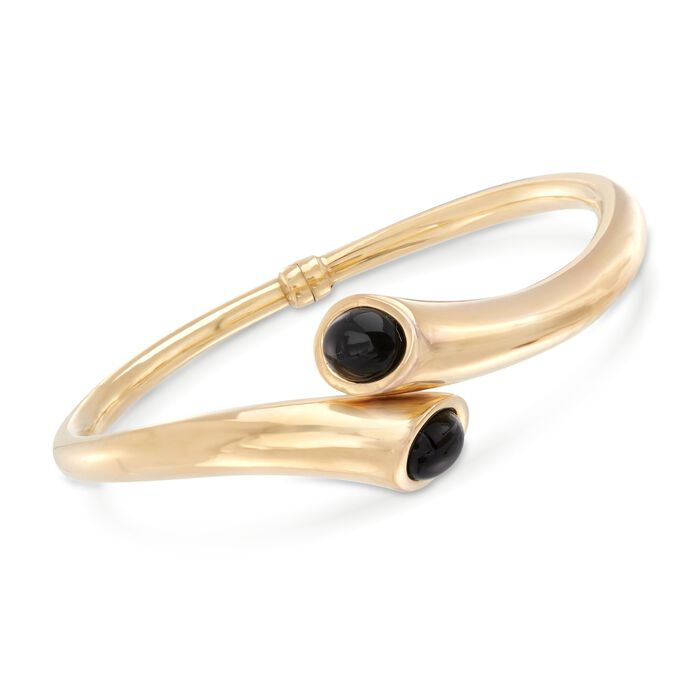 "Italian Black Onyx Bypass Bracelet in 14kt Yellow Gold. 7.5"", , default"