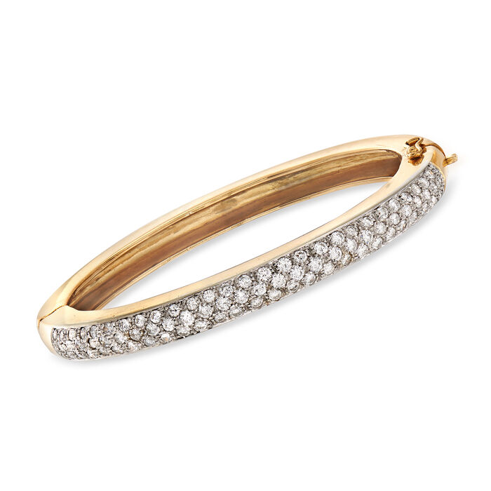 C. 1980 Vintage 2.00 ct. t.w. Pave Diamond Bangle Bracelet in 18kt Yellow Gold. 6.5""