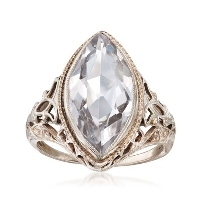 C. 1950 Vintage 2.50 Carat Aquamarine Marquise Ring in 14kt White Gold, , default