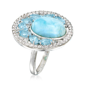 Larimar and 3.60 ct. t.w. Blue and White Topaz Ring in Sterling Silver, , default