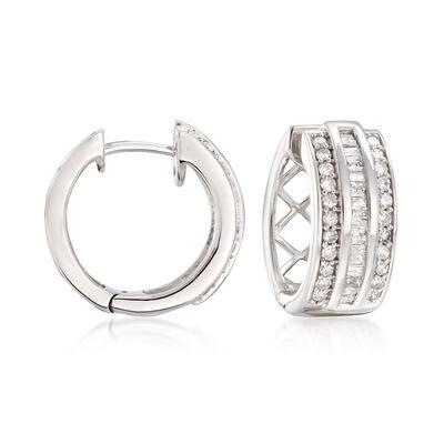 .70 ct. t.w. Baguette and Round Diamond Huggie Hoop Earrings in Sterling Silver, , default