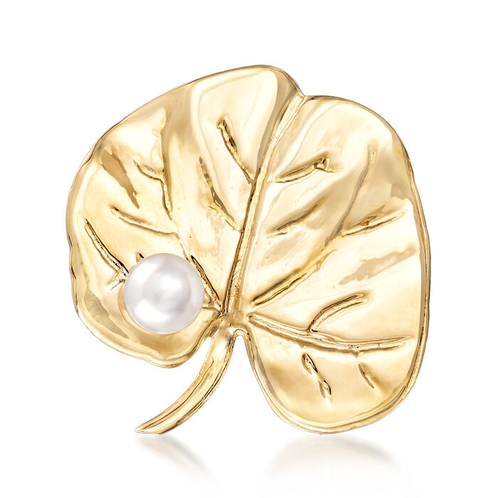 5-5.5mm Cultured Pearl Lily Pad Pin in 14kt Yellow Gold