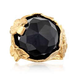 Black Onyx Floral Ring in 18kt Yellow Gold Over Sterling Silver, , default