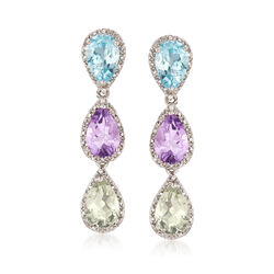 5.40 ct. t.w. Purple and Green Amethyst and 2.90 ct. t.w. Blue Topaz Earrings With Diamonds in Sterling Silver , , default