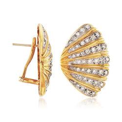 C. 1980 Vintage 1.65 ct. t.w. Diamond Fan Earrings in 18kt Yellow Gold, , default