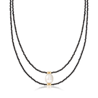 10-10.5mm Cultured Pearl and 30.00 ct. t.w. Black Spinel Bead Necklace in 14kt Yellow Gold, , default