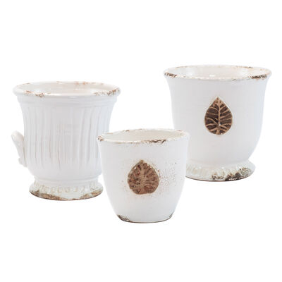 "Vietri ""Rustic Garden"" White Cachepot from Italy"