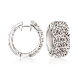 .24 ct. t.w. Diamond Hoop Earrings in Sterling Silver, , default