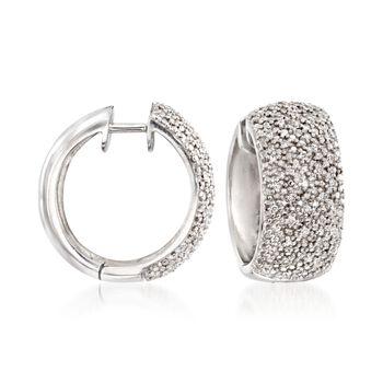 ".24 ct. t.w. Diamond Hoop Earrings in Sterling Silver. 5/8"", , default"