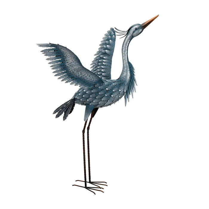 Metallic Blue Heron Decorative Garden Statue - Wings Up, , default