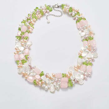 """4-5mm Multicolored Cultured Pearl and Multi-Stone Torsade Necklace with Sterling Silver. 19"""""""