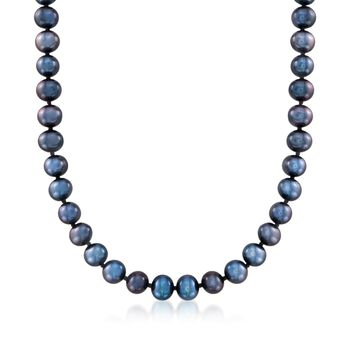 6-7mm Black Cultured Pearl Necklace With 14kt White Gold, , default