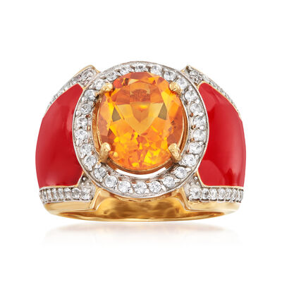 3.20 Carat Citrine and .30 ct. t.w. White Topaz Ring with Red Enamel in 18kt Gold Over Sterling, , default
