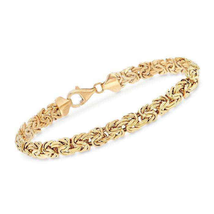 "18kt Yellow Gold Byzantine Bracelet. 7"", , default"