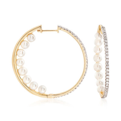 3.5-4mm Cultured Pearl and .50 ct. t.w. Diamond Inside-Outside Hoop Earrings in 14kt Yellow Gold, , default