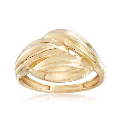 14kt Yellow Gold Three Leaf Ring, , default