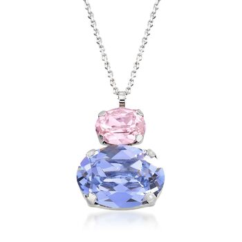 """Italian Sterling Silver Drop Necklace With Lavender and Pink Swarovski Crystals. 16"""", , default"""