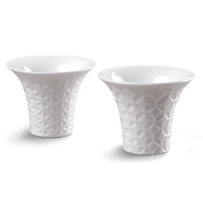 Lladro Set of 2 White Porcelain Sake Cups