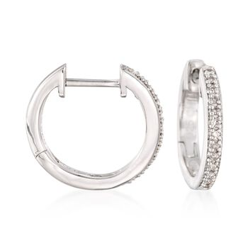 "Sterling Silver Small Hoop Earrings With Diamond Accents. 1/2"", , default"