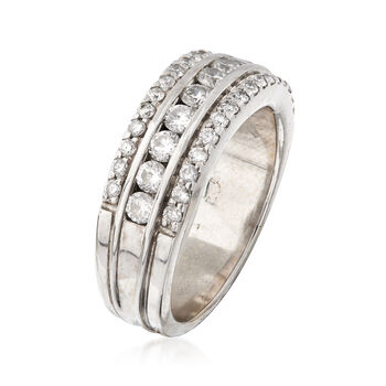 C. 1990 Vintage 1.00 ct. t.w. Diamond Band Ring in 14kt White Gold. Size 7