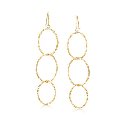 14kt Yellow Gold Triple Interlocking Oval Drop Earrings, , default