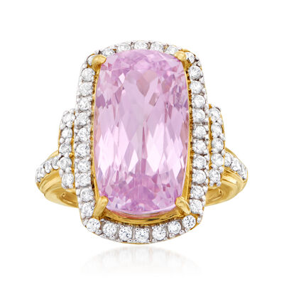 15.00 Carat Kunzite and 1.00 ct. t.w. White Zircon Cocktail Ring in 14kt Yellow Gold, , default