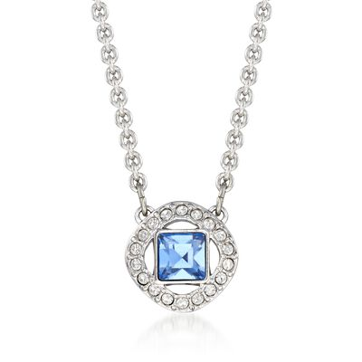 "Swarovski Crystal ""Angelic"" Blue and Clear Square Crystal Necklace in Silvertone, , default"