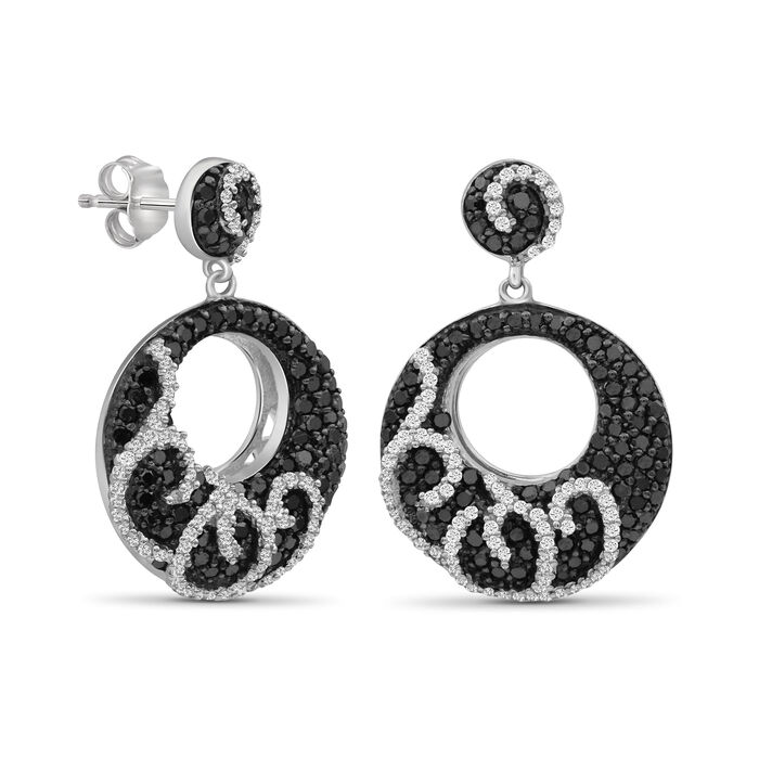 1.05 ct. t.w. Black and White Diamond Open Circle Drop Earrings in Sterling Silver
