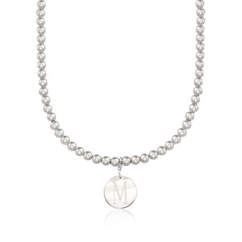 Italian 6mm Sterling Silver Bead Necklace With Personalized Disc Charm, , default