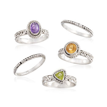 1.80 ct. wt. Multi-Stone Jewelry Set: Five Stackable Rings in Sterling Silver. Size 5, , default