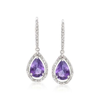 5.00 ct. t.w. Amethyst and .40 ct. t.w. Diamond Drop Earrings in 14kt White Gold , , default