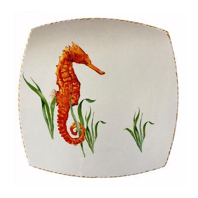 "Abbiamo Tutto ""Seahorse"" Large Ceramic Square Plate from Italy"