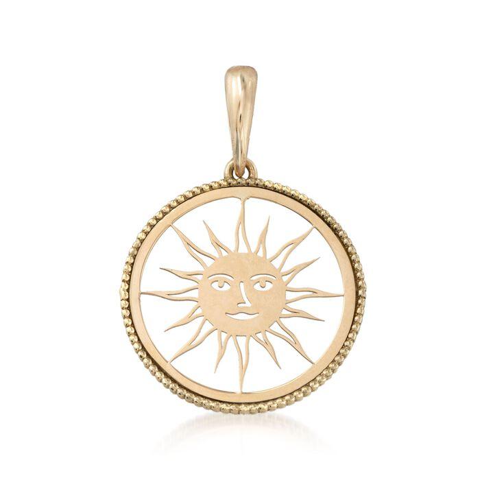 Italian 18kt Yellow Gold Openwork Sun Pendant, , default