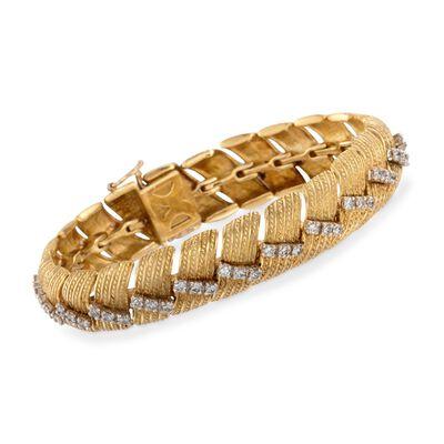 C. 1970 Vintage 3.00 ct. t.w. Fancy Link Wide Diamond  Bracelet in 18kt Yellow Gold