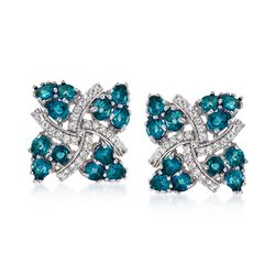 5.25 ct. t.w. London Blue Topaz and .20 ct. t.w. White Zircon Pinwheel Earrings in Sterling Silver, , default