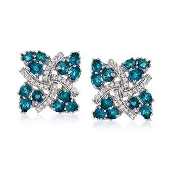 5.25 ct. t.w. London Blue Topaz and .20 ct. t.w. White Zircon Pinwheel Earrings in Sterling Silver, , default