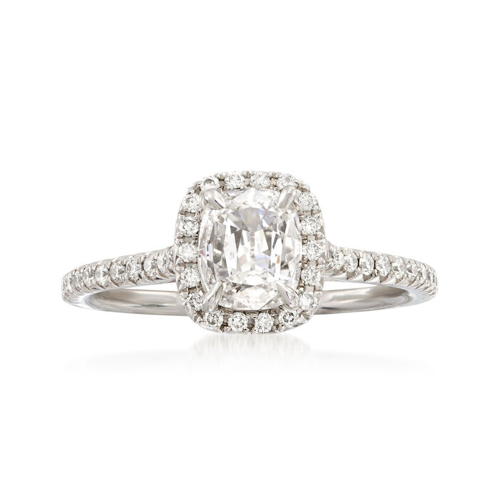 Henri Daussi .99 ct. t.w. Diamond Engagement Ring in 18kt White Gold, , default
