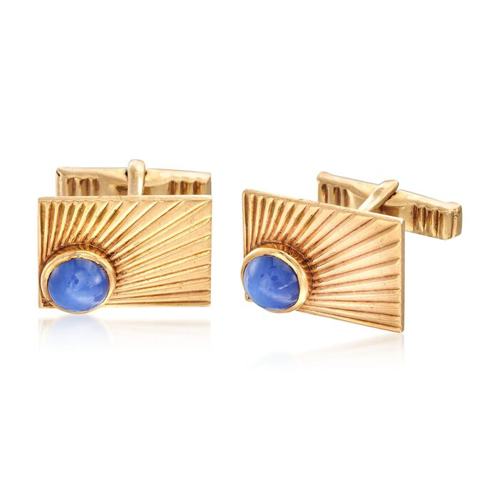 C. 1960 Vintage 4.00 ct. t.w. Synthetic Sapphire Cuff Links in 14kt Yellow Gold