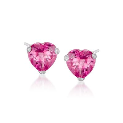 3.00 ct. t.w. Pink Topaz Heart Stud Earrings in Sterling Silver, , default