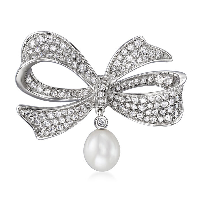 9mm Cultured Pearl and 1.95 ct. t.w. CZ Bow Pin in Sterling Silver