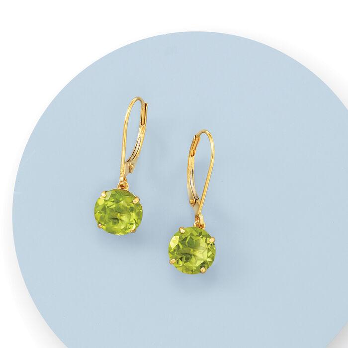 3.90 ct. t.w. Peridot Drop Earrings in 14kt Yellow Gold