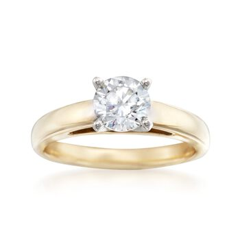 14kt Yellow Gold Solitaire Cathedral Engagement Ring Setting, , default